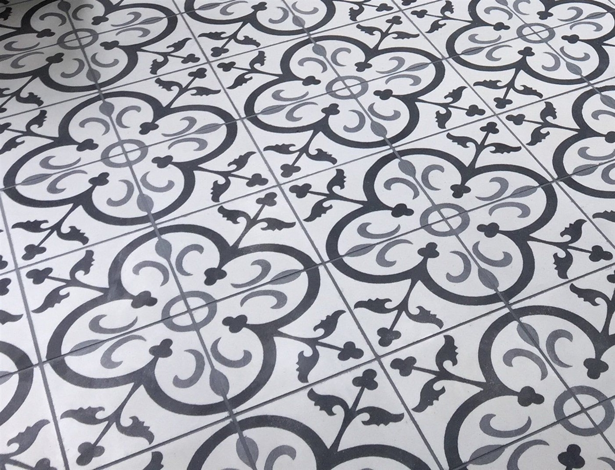 Black White Gray Floral 8x8 Cement Tile