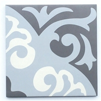 8x8 Parisienne Bleu Porcelain Patterned Floor Tile