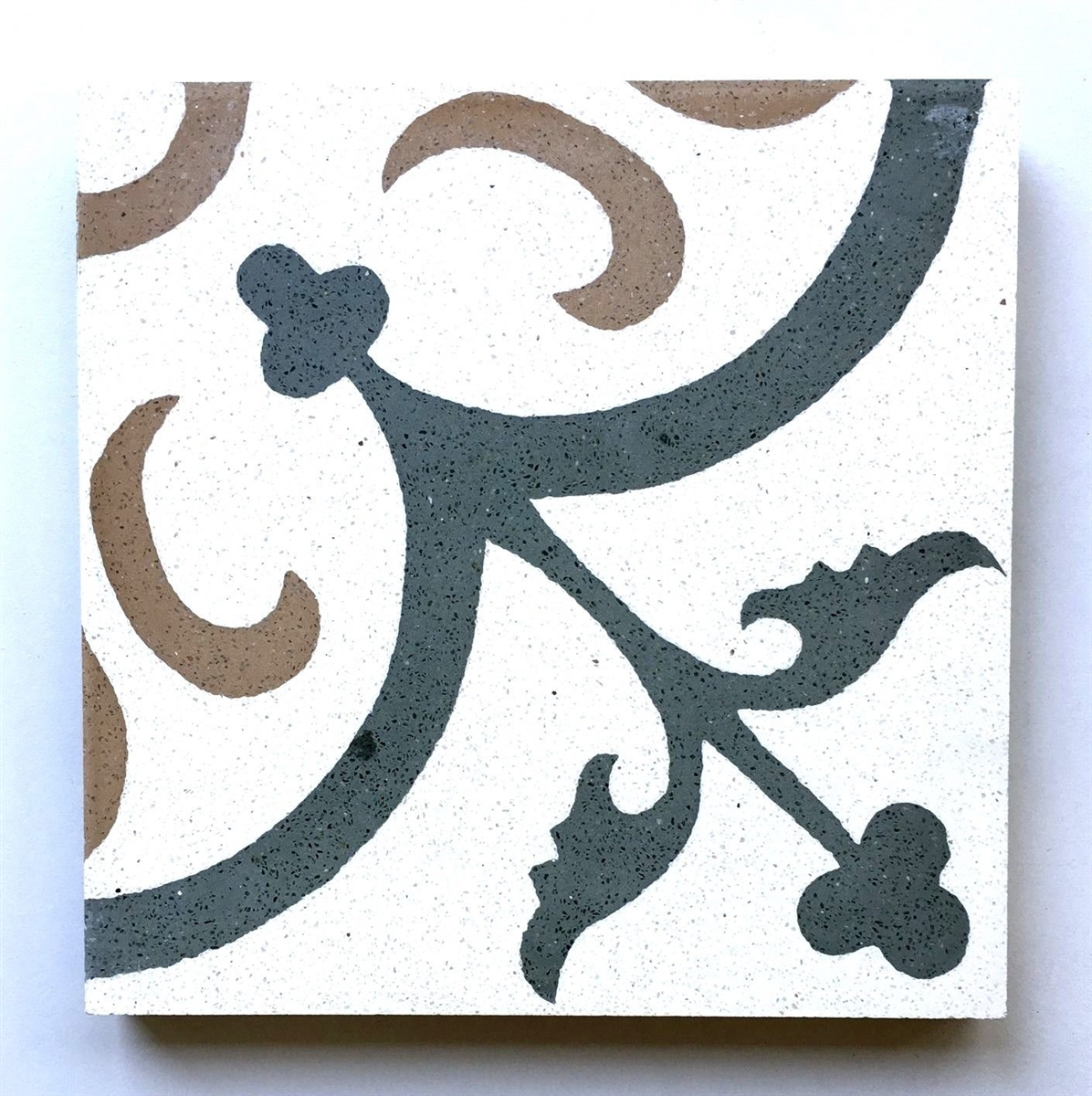 Flora Encaustic Green White Brown 8x8 Honed Finish Cement Tile