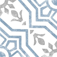 8x8 Bijoux Bleu Porcelain Pattern Art Deco Retro Modern Floor Tile