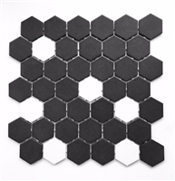 "Black and White Hexagon 2"" Matte Porcelain Mosaic Tile"