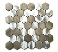 Brushed Aluminum Multi-Color 2 inch Hexagon Mosaic Backsplash Wall Tile