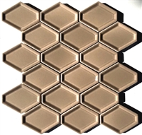 Concave Hexagon Taupe Soft Gray Oblong Ceramic Mosaic Tile