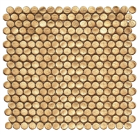 Gold Metallic Shimmer Penny Round Glass Mosaic Wall Tile