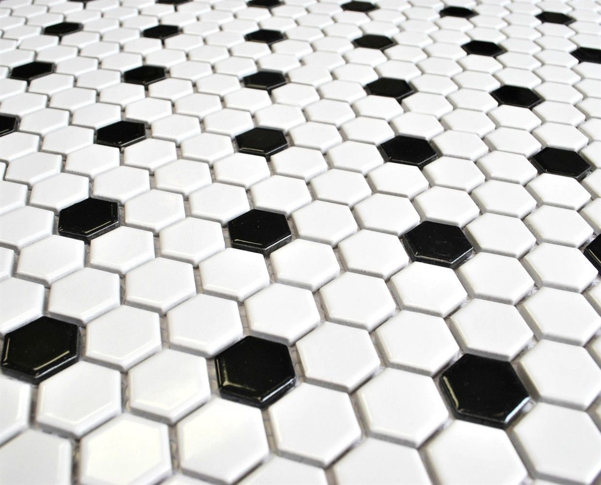 White And Black 1 Quot Mix Hexagon Porcelain Mosaic Tile