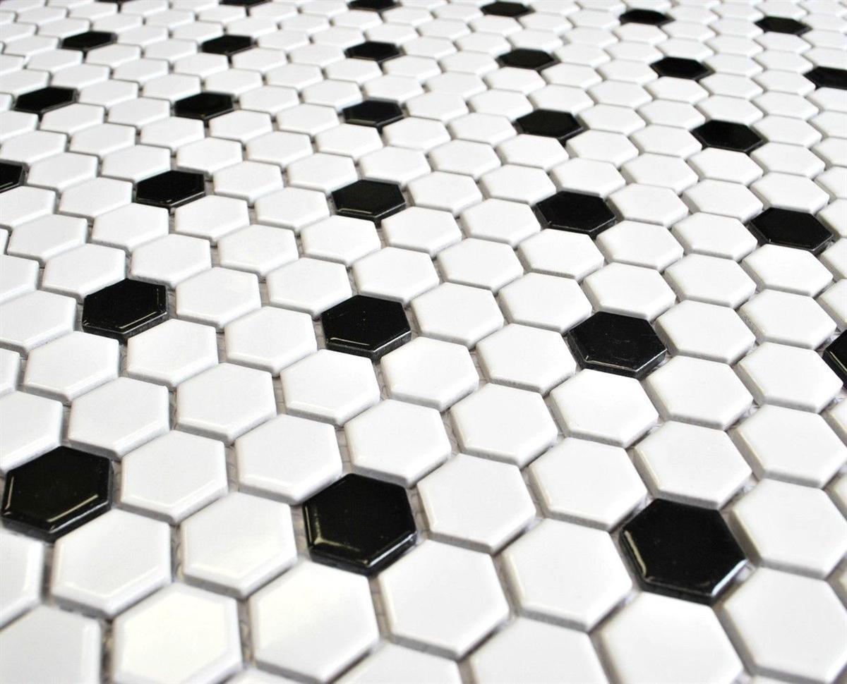 White And Black 1 Quot Mix Hexagon Porcelain Mosaic Tile