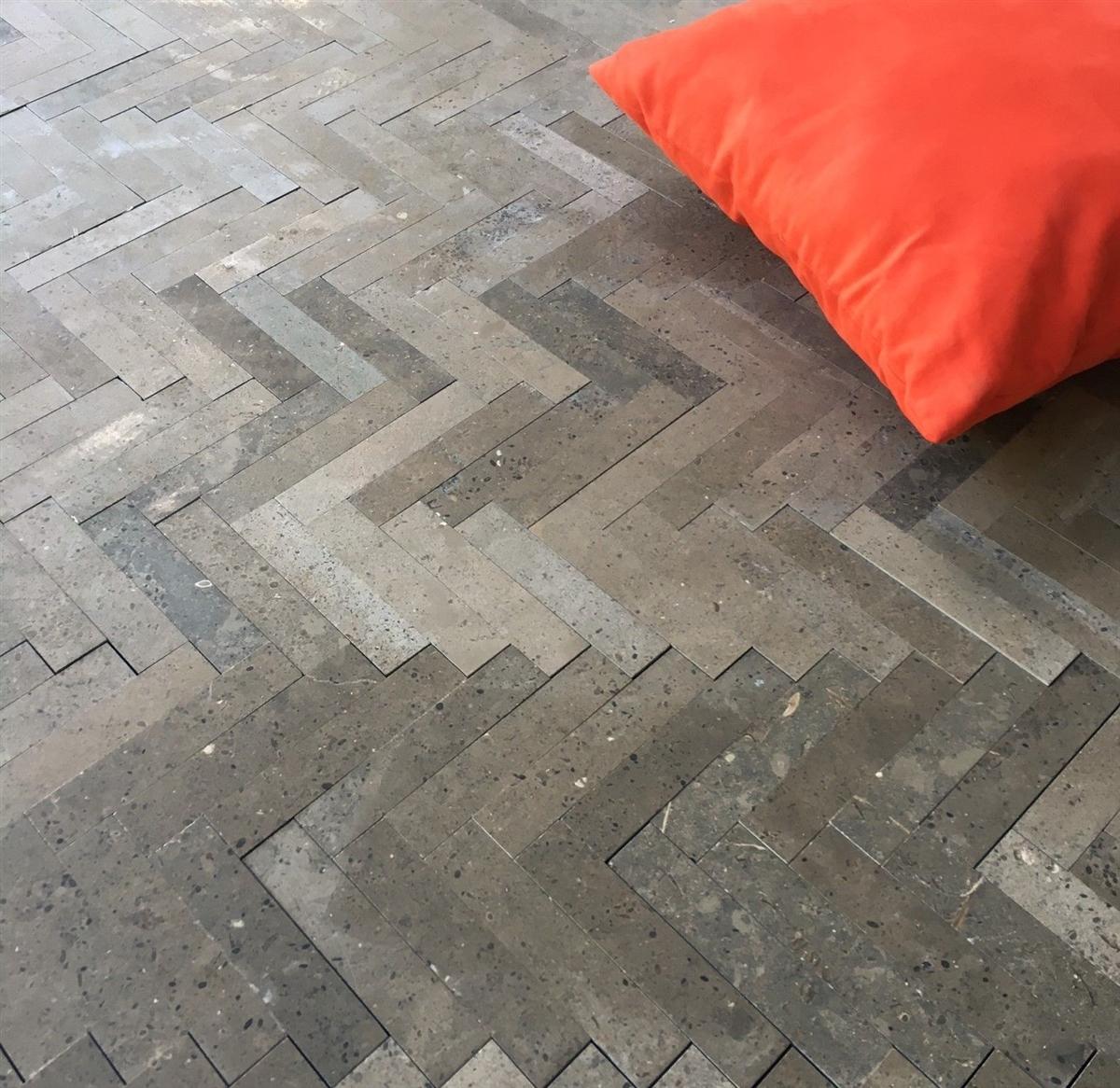 Lagos Azul 6x12 Herringbone Mosaic Limestone Tile Floor