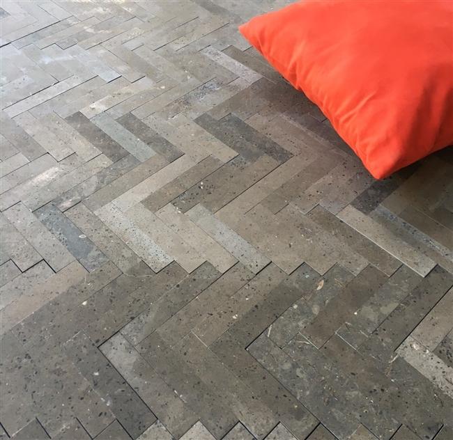 Lagos Azul 6x12 Herringbone Mosaic Limestone Tile Floor And Wall
