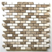 Mini Brick Beige Emperador and Vanilla .5x1 Mix Marble Mosaic