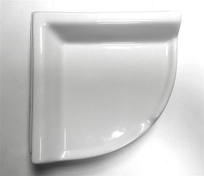 "Corner Shelf White Ceramic Bath Accessory Shower Thinset Mount 8-3/4"" x 2-5/8"""