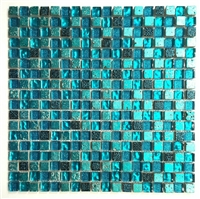 "5/8"" x 5/8"" Cadiz Collection Turquoise Blue Glass Mix Mosaic On Mesh-mount"