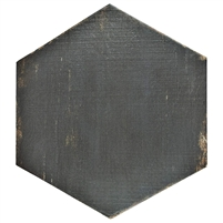 "Vintage Hex Porcelain Floor and Wall Tile, 14.125"" x 16.25"" Black/Brown 9 Pieces"