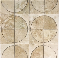 WaterJet Custom Cut 4x4 Polished Botticino Beige Marble Tile