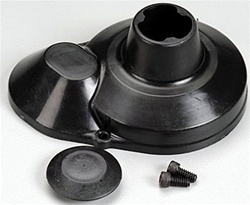 "Associated Molded Gear Cover, black. Made of .045"" impact-resistant plastic. Includes button and mounting screws."
