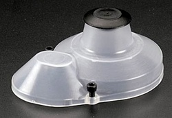 "Associated Molded Gear Cover, clear. Made of .045"" impact-resistant plastic. Includes button and mounting screws."