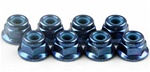 KYO1-N4056FN-B Kyosho Blue Steel flanged Nylon Nut M4x5.6mm - package of 5
