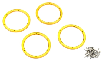 KYOEZW003GL Kyosho EZ Series Gold Aluminum Wheel Bead covers - Package of 4