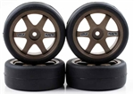 KYOR246-4121 Kyosho Pre-Mounted BS POTENZA HG & TE37 Tires on Bronze Wheels - Package of 4