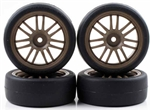 KYOR246-4123 Kyosho Pre-Mounted BS POTENZA HG & RE30 Tires on Bronze Wheels - Package of 4