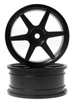 KYOVZH001BK Kyosho Black 6 spoke 24mm Wheel - Package of 2