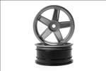 KYOVZH004S Kyosho Silver 5 Spoke 24mm Wheel - Package of 2