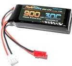 PHB2S90030JST 900mAh 7.4v 2S 30C Lipo Battery with Hardwired JST
