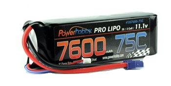 PHB3S760075CEC5HCS 7600mAh 11.1V 3S 75C LiPo Battery with Hardwired EC5