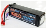 PHB4S6500100CDNS 6500mAh 14.8V 4S 100C LiPo Battery with Hardwired T-Plug