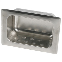 Heavy Duty Recessed Soap Dish with Lip -  Wet Wall Mortar Mount, satin