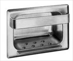 Heavy Duty Recessed Soap Dish and Bar with Lip - satin, drywall clamp