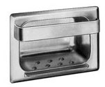 Heavy Duty Recessed Soap Dish and Bar with Lip -  Wet Wall Mortar Mount, bright polished