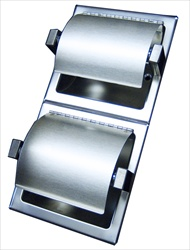 Double Toilet Paper Holder with Hinged Hood, vertical, bright polished