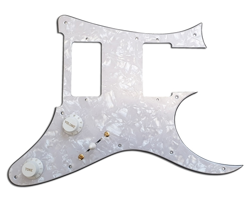 A Loaded White Pickguard suitable for Ibanez® RG®