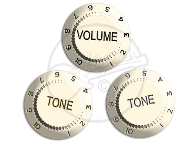 """3 /""""Parchment/"""" fit to Strat® US//CTS Potis Knob Set"""