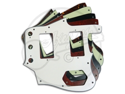 A selection of pickguards for the USA Fender Jaguar with Humbucker Conversion