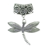 Scarf Pendant Silver Dragonfly