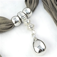 Scarf Pendant Silver Droplet