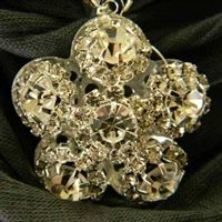 Scarf Pendant Silver and Crystal Flower