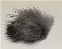 Raccoon Pom-Pom w/ Snap 001 Grey Black/Gold Tips