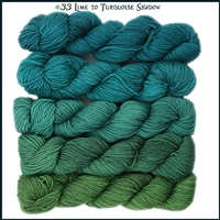 Mad Hatter Mini Skein Packs 33 Lime To Turquoise Shadow