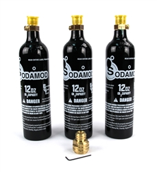 SodaMod Adapter and (3) High Quality Beverage Grade CO2 12oz Air Tank Combo Package