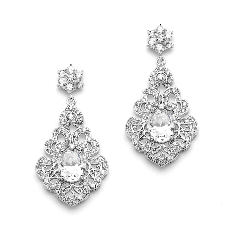 Vintage Cubic Zirconia Wedding Earrings with Bold CZ Oval