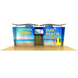 20ft light box w/ wave top & tapered fabric