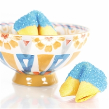 All natural vanilla fortune cookies hand dipped in white chocolate then decked out in blue aquamarine bling.