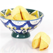All natural vanilla fortune cookies hand dipped in white chocolate then decked out in citrine yellow bling.
