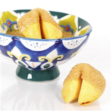 All natural vanilla fortune cookies hand dipped in white chocolate then decked out in gold dusted bling.