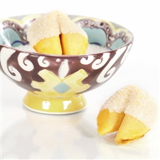 All natural vanilla fortune cookies hand dipped in white chocolate then decked out in quartz crystal bling.