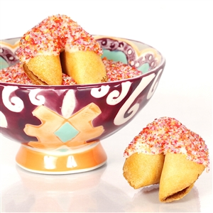All natural vanilla fortune cookies hand dipped in white chocolate then decked out in rainbow bling.