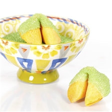 All natural vanilla fortune cookies hand dipped in white chocolate then decked out in peridot green dusted bling.