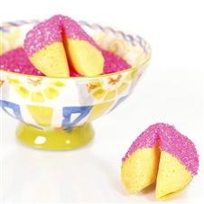 All natural vanilla fortune cookies hand dipped in white chocolate then decked out in Pink Tourmaline bling.